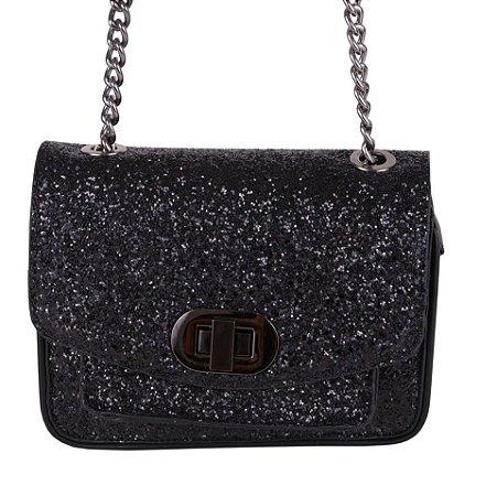 Bolsa de festa prata com brilhos  alça corrente - 3 opções de cores