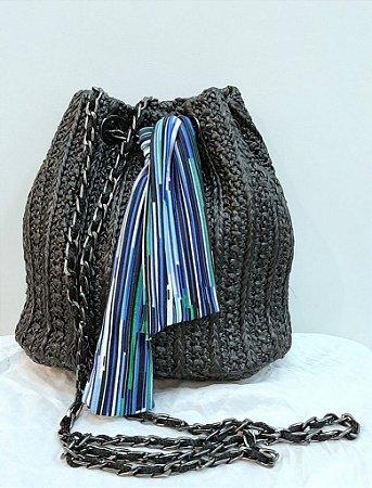 Mini bolsa tecido alça corrente