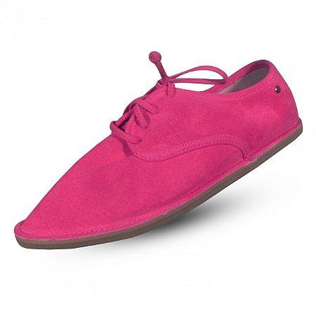 Sapato em couro camurça parô  cor orquídea