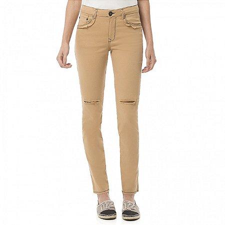 Calça jeans skinny destroyed lez a lez bali camel