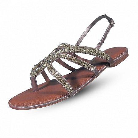 Sandália rasteira resinada strass fio de ouro - cor cobre