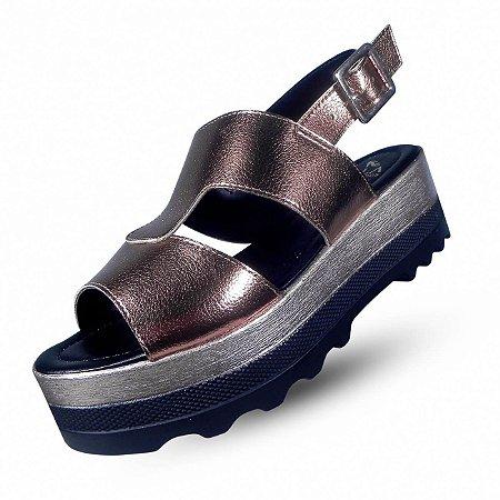 Sandália flatform zatz calçados - cor bronze