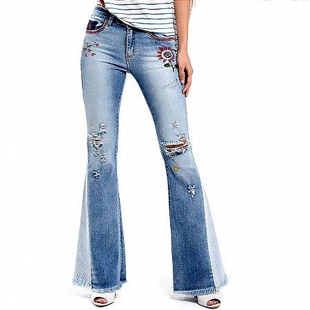 Calça jeans flare hippie its & co