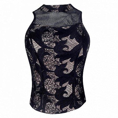 Blusa em renda guipir com detalhe de tela kesses - cor preto