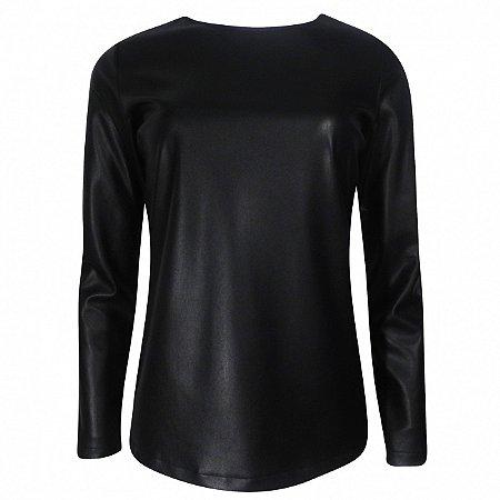 Blusa em couro fake paola marcon cor preto