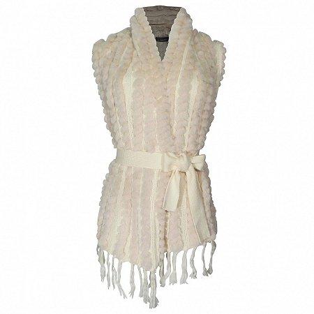 Colete tricot e pele fake alpelo