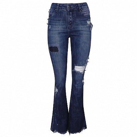 Calça jeans flare destroyed com bordados its & co
