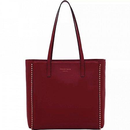 Bolsa tiracolo em couro com bolinhas douradas smartbag cor vermelho