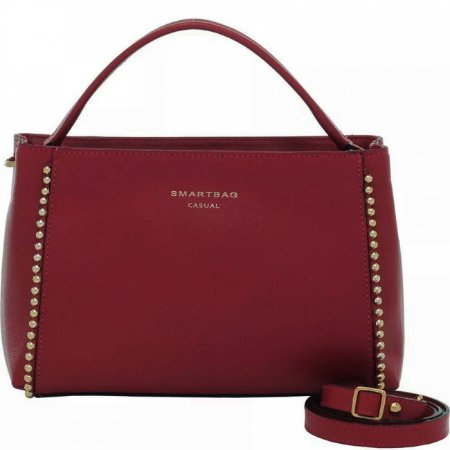 Bolsa de mão em couro com bolinhas douradas smartbag cor vermelho