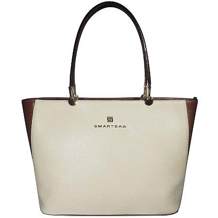 Bolsa tiracolo em couro bicolor smartbag cor off white