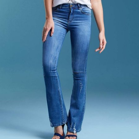 Calça jeans flare perfect fit destroyed its & co
