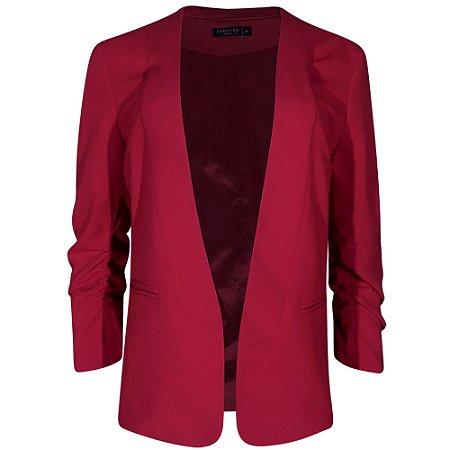 Blazer mangas franzidas sedução cor pink