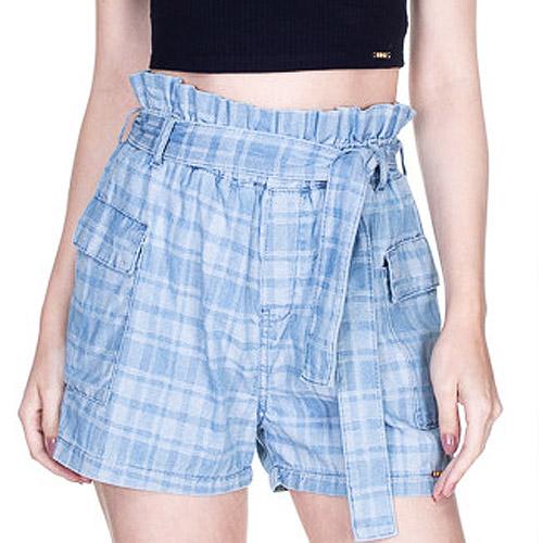 Shorts clochard jeans xadrez dimy