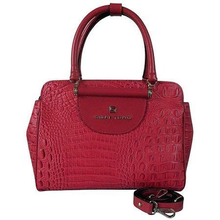 Bolsa couro croco alça mão e transversal smartbag cor vermelho