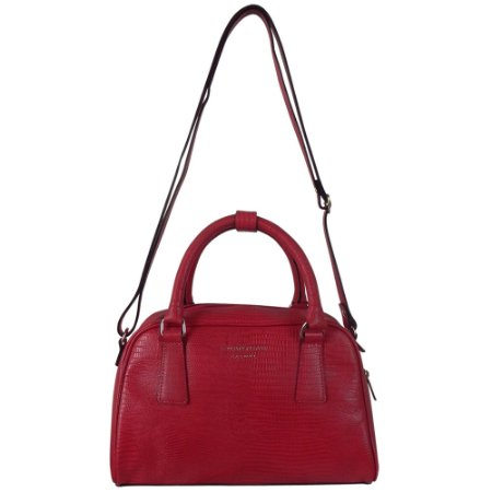 Bolsa couro lezard alça mão e transversal smartbag cor vermelho