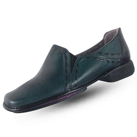 Sapato em couro j. gean dual confort esmeralda