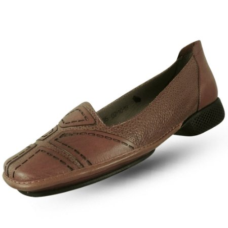 Sapato em couro j. gean dual confort camel