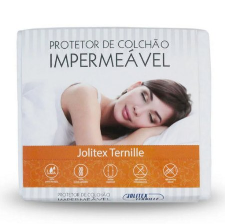Protetor de Colchão Impermeável QUEEN Branco com Elástico - Jolitex Ternille - 158x198x40 cm