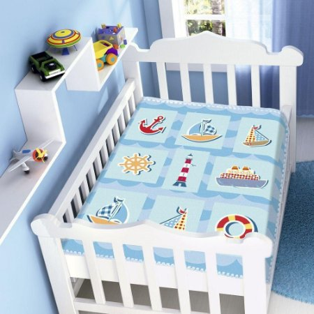Cobertor Jolitex Infantil Berço Bebê Raschel Barquinhos Azul