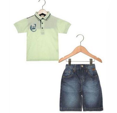 Conjunto 2 peças Recorte Estonado Infantil Verde/Azul Coloritta 17953