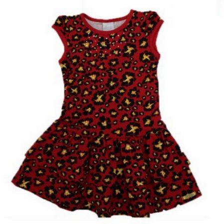 Vestido Estampado Strass Babado Alakazoo 34497