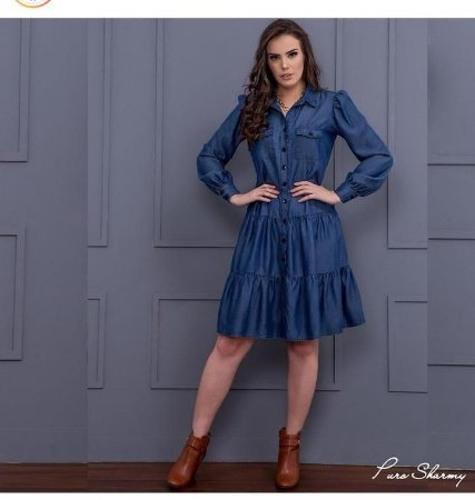 Vestido chemise jeans - Puro Sharmy