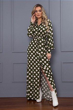 Vestido Chemise Longo Poá - Puro Sharmy