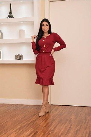 Vestido Botoes  Viscolycra  - Dalu store