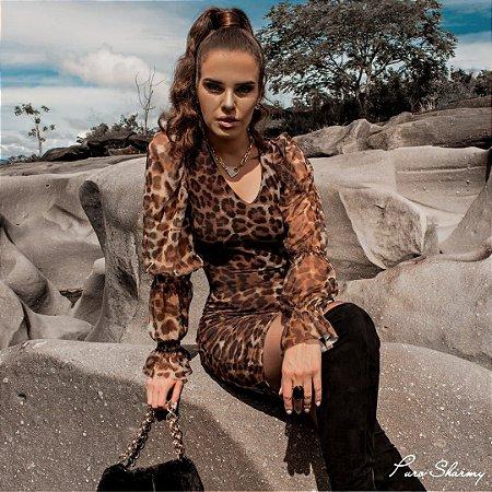 Vestido Tule Animal Print - Puro Sharmy
