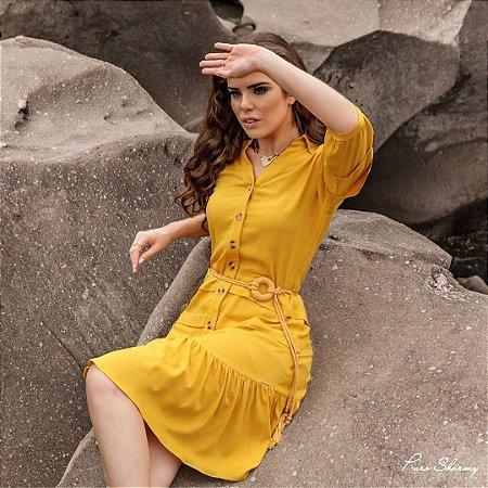Vestido linho com cinto - Puro Sharmy