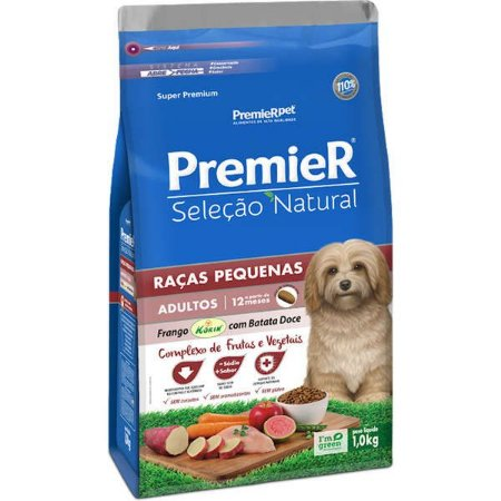 Premier Pet Seleção Natural Cães Adultos Raças Pequenas Frango Korin com Batata Doce 1 Kg