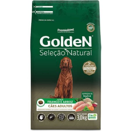 Golden Seleção Natural Cães Adulto 3Kg