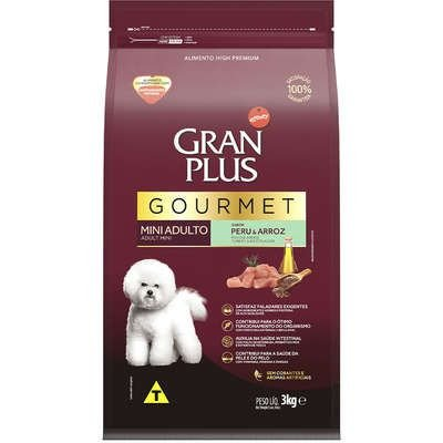 GRAN PLUS GOURMET CÃO ADULTO MINI PERU E ARROZ 3KG