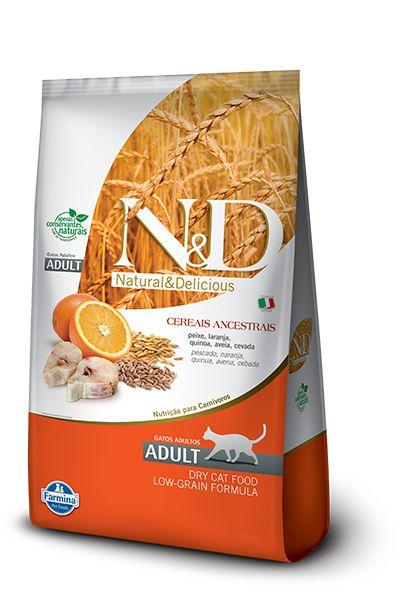 N&D Low Grain para Gatos Adultos Sabor Peixe e Laranja 400G