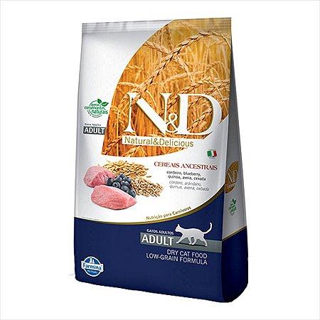 N&D Low Grain Sabor Cordeiro e Blueberry Para Gatos Adultos 1,5KG