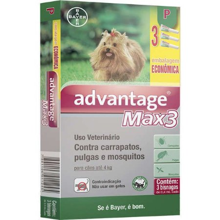 Advantage Max3 (0,4 ML) COMBO Até 4Kg