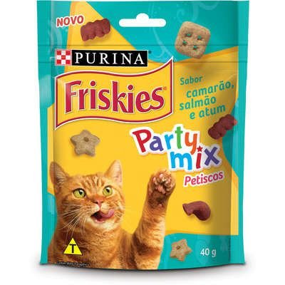 PETISCOS FRISKIES PARTY MIX CAMARÃO SALMÃO E ATUM 40G