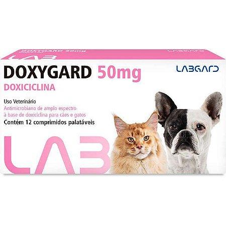 Antimicrobiano Labgard Doxygard 50MG para Cães e Gatos de Raças Pequenas 12 Comprimidos