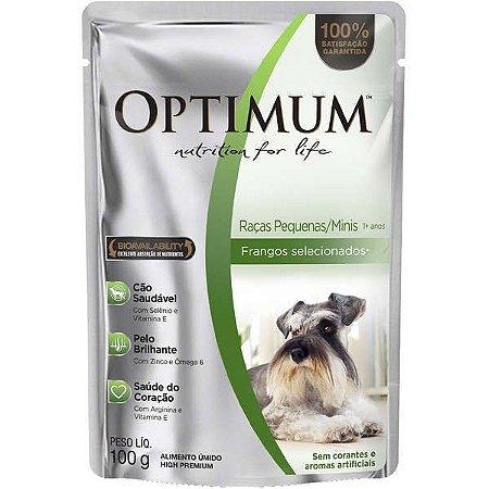 Ração Úmida Optimum Sachê para Cães Adultos Raças Pequenas e Minis Frango 100G
