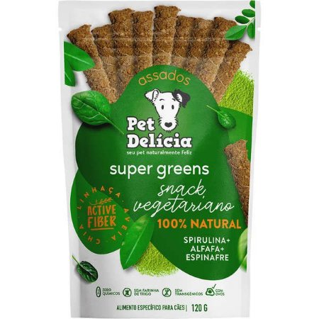 Pet Delícia Sticks Super Greens Spirulina/Alfafa/Espinafre Veg 120G