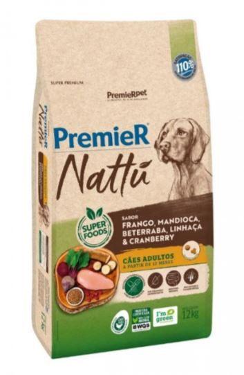 Premier Nattu Para Cães Adultos Sabor Mandioca 12KG