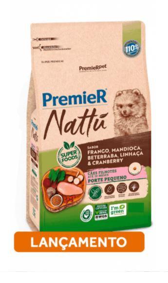 Premier Nattu para Cães Filhotes de Raças Pequenas Sabor Mandioca 2,5KG