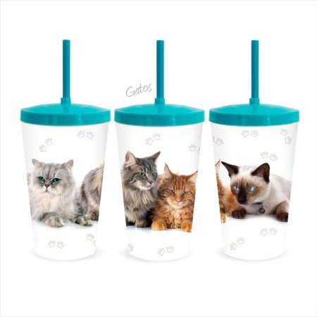 COPO PET GATOS 600ML