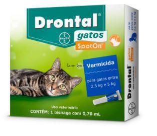 Vermífugo para Gatos Spot On Drontal 2,5kg a 5kg