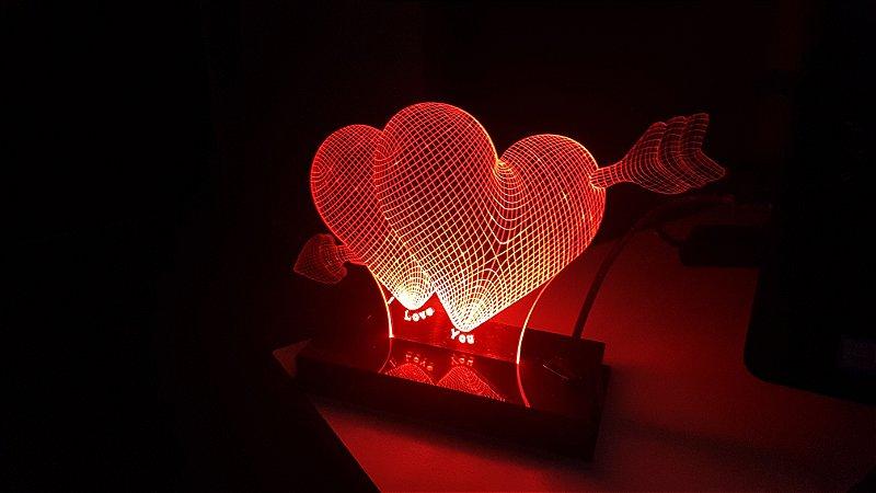 Luminária 3D - Falling in love