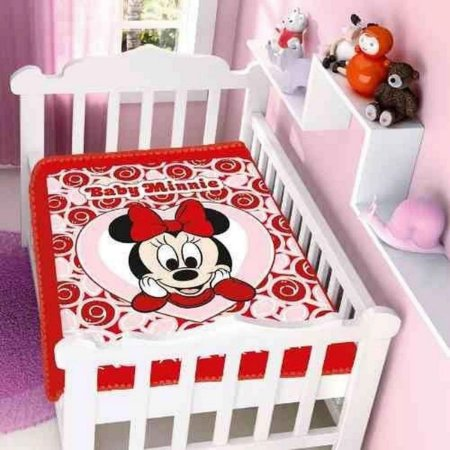 Cobertor infantil Jolitex Minnie Coração Vermelho
