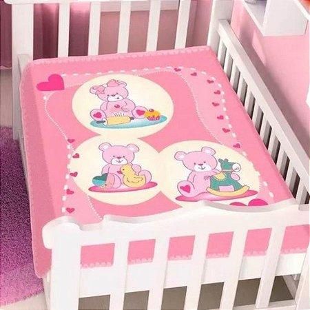 Cobertor infantil Jolitex ursinhas Brinquedo - rosa