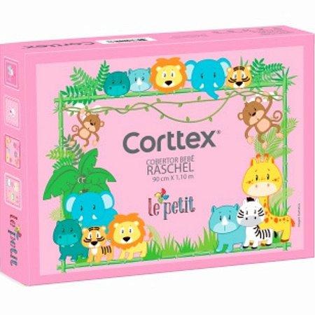 Cobertor Corttex Raschel corujinha - rosa