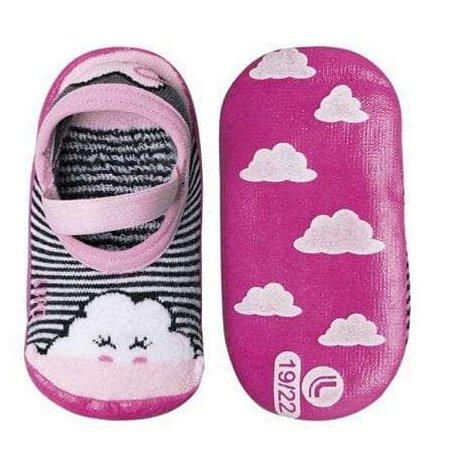 Meia solado antiderrapante Lupo - nuvem rosa