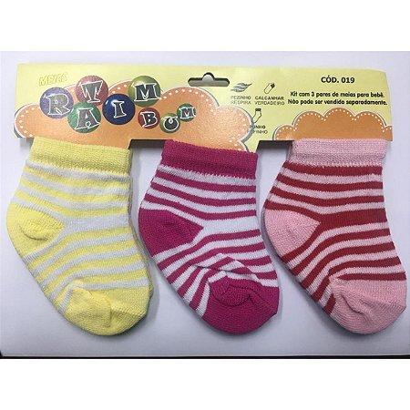 Kit 3 pares de meias Ratimbum - amarela, branca e vermelha